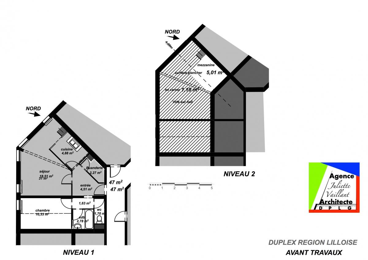 Modernisation d'un duplex urbain : AVANT TRAVAUX