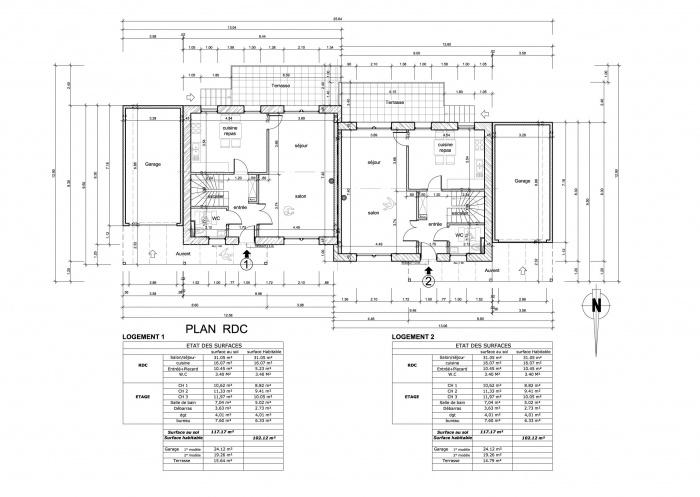 Habitat jumelés / Basse énergie / Ossature bois : plan rdc.jpg