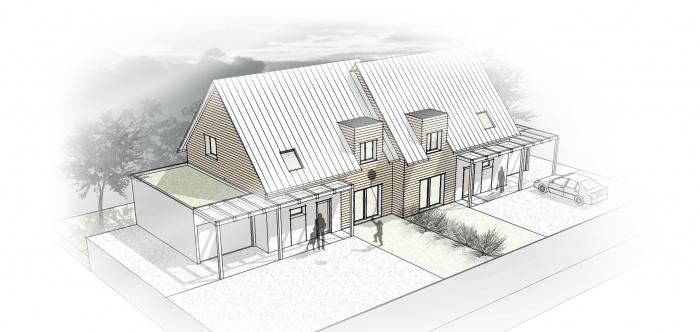 Habitat jumelés / Basse énergie / Ossature bois