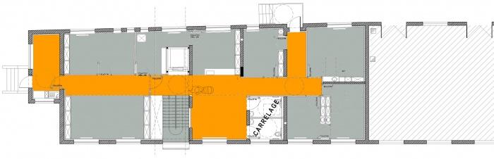 Rénovation d'un Centre technique et d'un Centre médico-social : niveau de l'étage