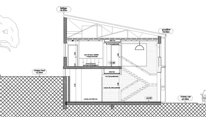 Rénovation d'un Centre technique et d'un Centre médico-social : coupe transversale