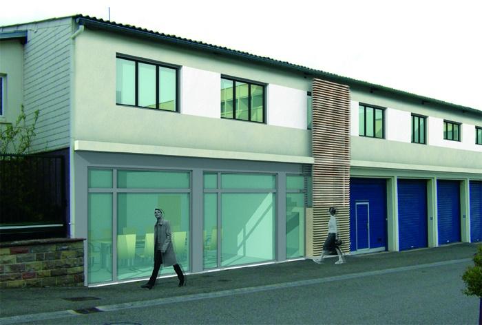 Rénovation d'un Centre technique et d'un Centre médico-social : Façade sur ue