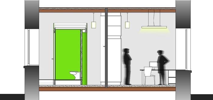 Rénovation d'un local professionnel : Coupe AA, avec l'espace de travail sur la droite
