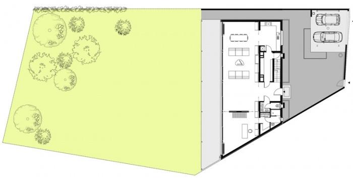 Maison B : Plan du RDC et aménagements