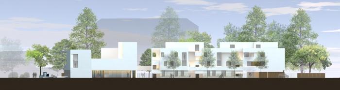 19 logements et une agence : façade longitudinale