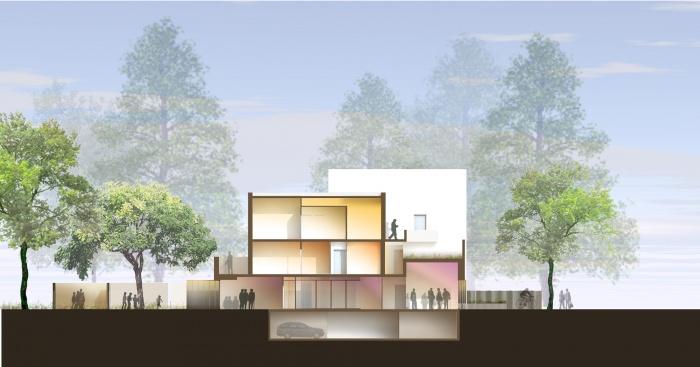 19 logements et une agence : coupe transversale