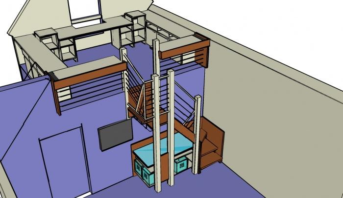 Aménagement chambre en mezzanine
